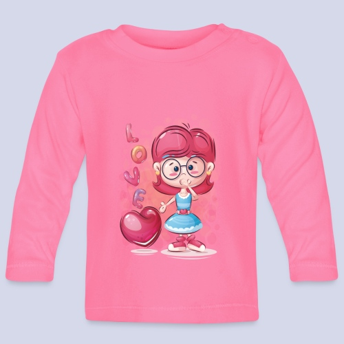 Funny and lovely girl cartoon design - Baby Long Sleeve T-Shirt
