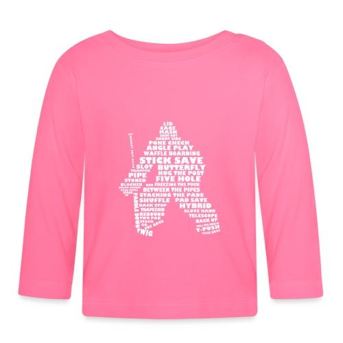 Language of Hockey (Goalie Version, white print) - Baby Long Sleeve T-Shirt