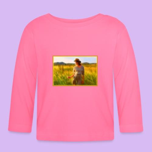 Donna tra gli steli d' erba - Maglietta a manica lunga per bambini