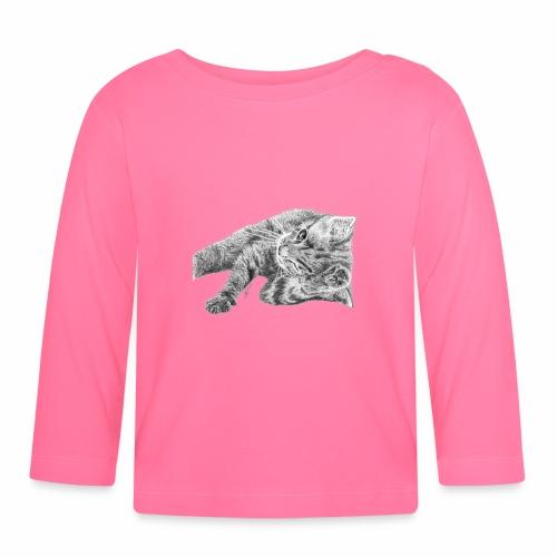 Small kitten in gray pencil - Baby Long Sleeve T-Shirt