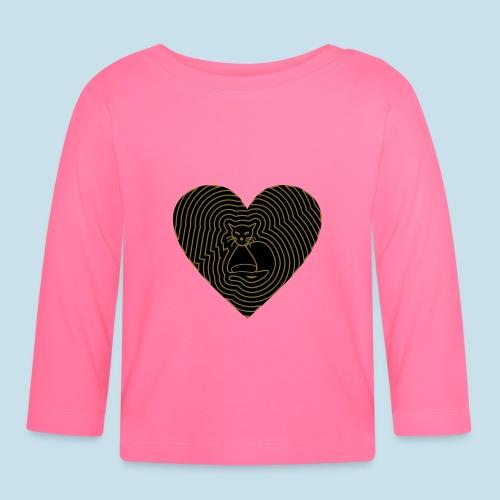Katzen Herz Spirale 2 Färbig - Baby Langarmshirt