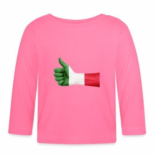 Italienische Flagge auf Daum - Baby Langarmshirt