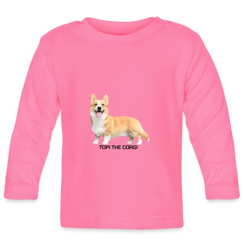 Topi the Corgi - Black text - Baby Long Sleeve T-Shirt