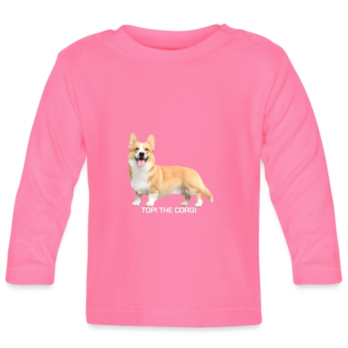 Topi the Corgi - White text - Baby Long Sleeve T-Shirt