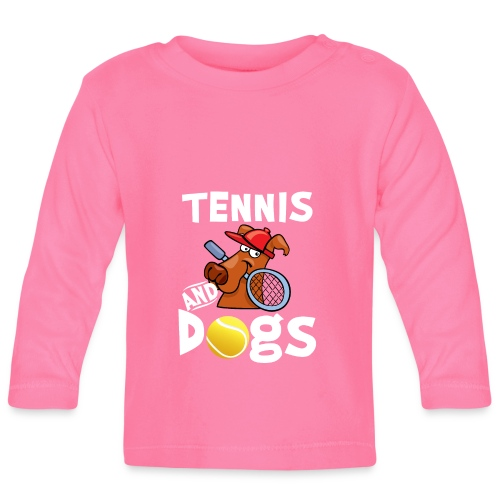 Tennis And Dogs Funny Sports Pets Animals Love - Baby Langarmshirt