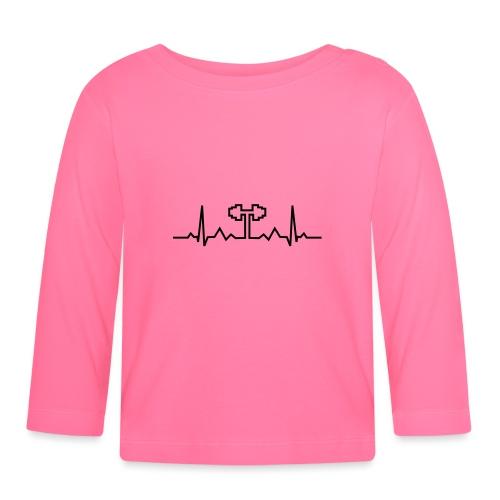 Herzschlag-Hantel, Bodybuilding, Crossfit, Fitness - Baby Langarmshirt