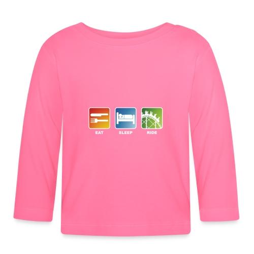 Eat, Sleep, Ride! - T-Shirt Schwarz - Baby Langarmshirt