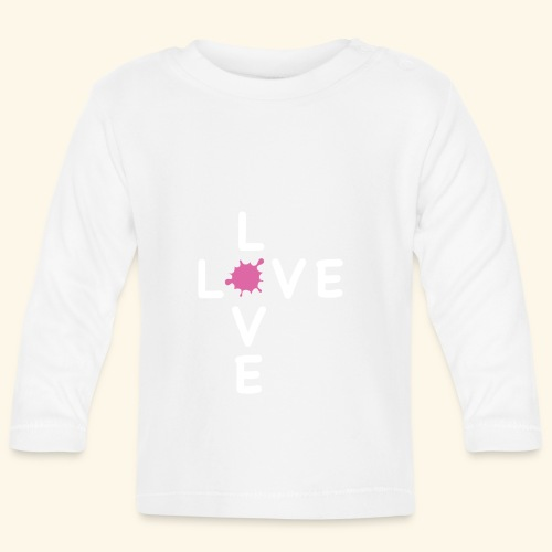LOVE Cross white klecks pink 001 - Baby Langarmshirt