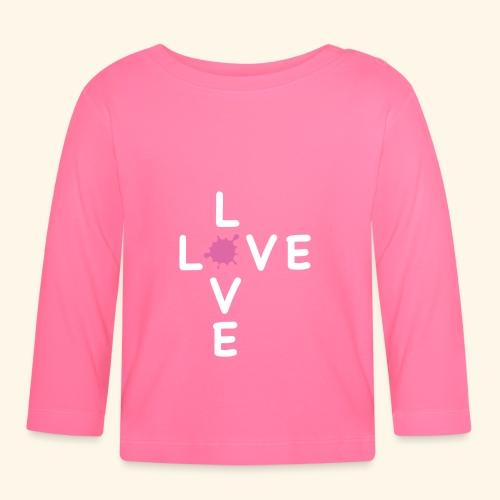 LOVE Cross white klecks pink 001 - Baby Langarmshirt