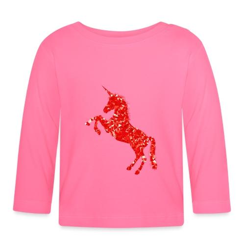 unicorn red - Koszulka niemowlęca z długim rękawem