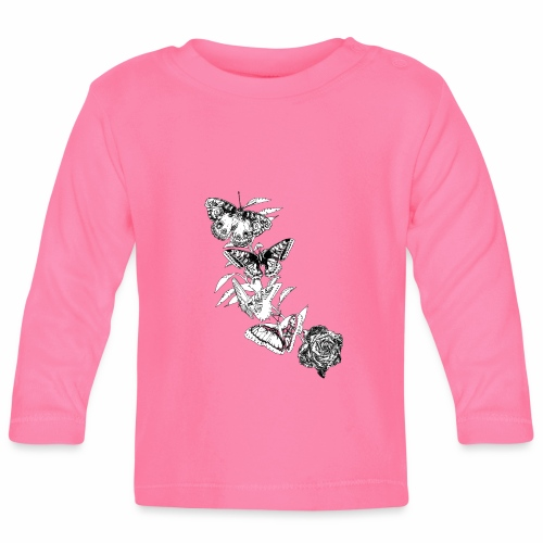 Black and White Butterflies and Rose - Maglietta a manica lunga per bambini
