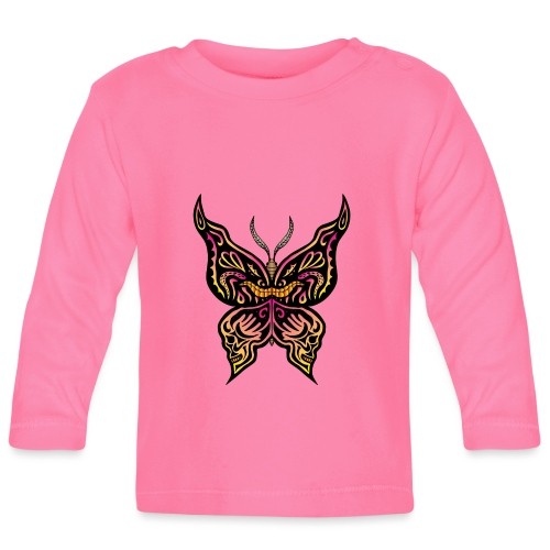 Tribal butterfly with face and skulls drawn on the - Maglietta a manica lunga per bambini
