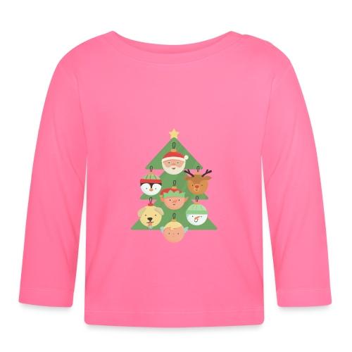 Weihnachtsbaum mit Gesichterkugeln - Baby Langarmshirt
