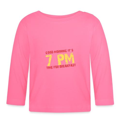 T-Shirt für Langschläfer und Party People - 7 pm - Baby Langarmshirt