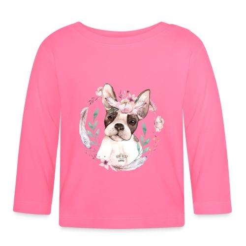 French Bully Flowers - Französische Bulldogge - Baby Langarmshirt
