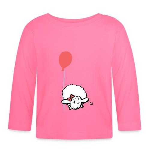 Corderito con globo (rosa) - Camiseta manga larga bebé