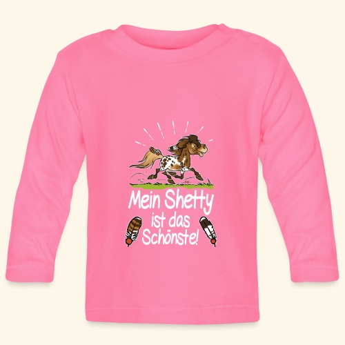 Mein Shetty das Schönste (Text weiss) - T-shirt manches longues Bébé