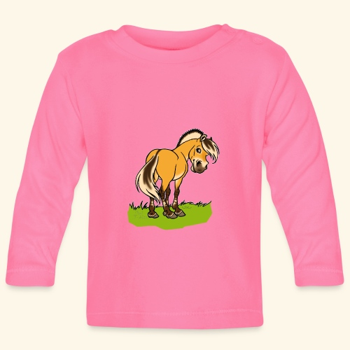 Freundliches Fjordpferd (Ohne Text) Weisse Umrisse - T-shirt manches longues Bébé