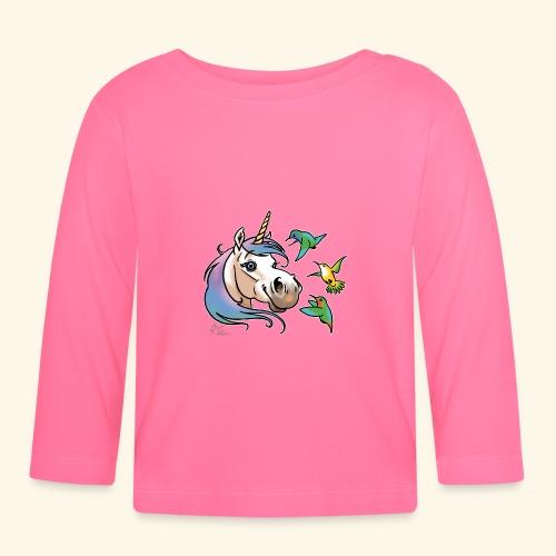 Einhorn und Kolibris (weisse Umrisse - T-shirt manches longues Bébé