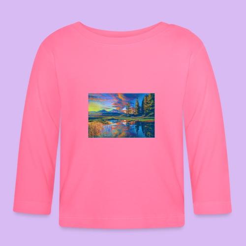 Paesaggio al tramonto con laghetto stilizzato - Maglietta a manica lunga per bambini