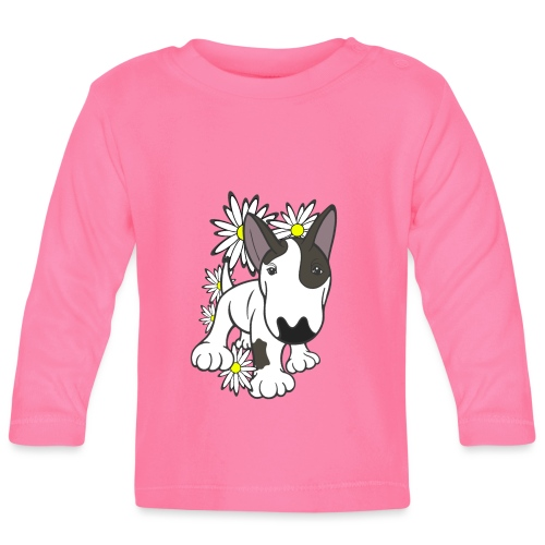 Bull Terrier Pup Daisies - Baby Long Sleeve T-Shirt