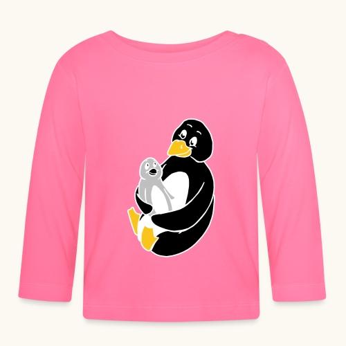 Drôle de pingouin Papa Idée cadeau des parents - T-shirt manches longues Bébé