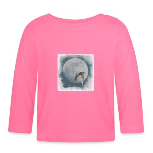 Flying owl full moon watercolor photo art - Baby Long Sleeve T-Shirt