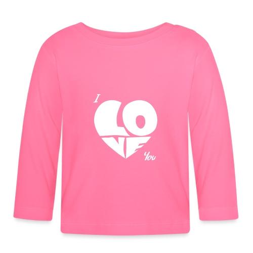 I Love you, Je t'aime, Coeur Blanc, Saint Valentin - T-shirt manches longues Bébé