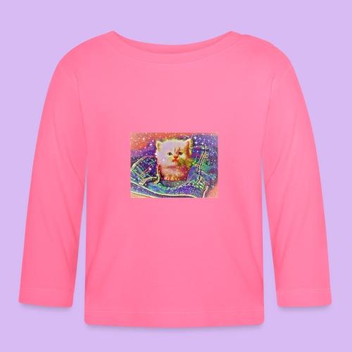 Gattino scintillante nella tasca dei jeans - Maglietta a manica lunga per bambini