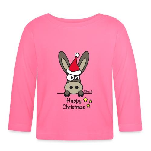 Âne, Noël Happy Christmas - T-shirt manches longues Bébé
