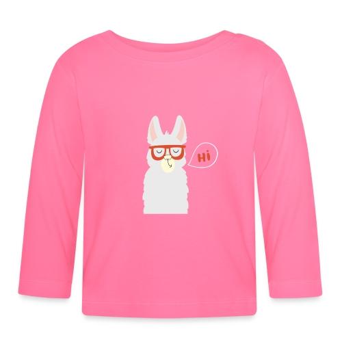 Llama with red glasses (white) - Langærmet babyshirt