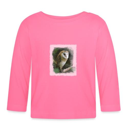 kluge Eule Schleiereule Aquarell Foto Kunst Natur - Baby Long Sleeve T-Shirt