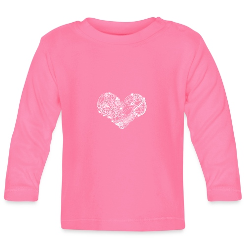 White Leaf Heart Mandala - Baby Long Sleeve T-Shirt