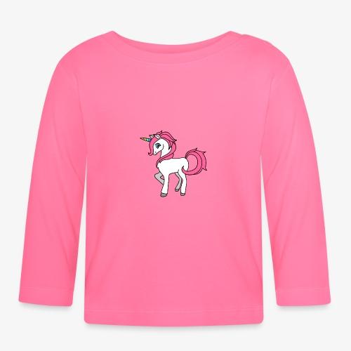 Süsses Einhorn mit rosa Mähne und Regenbogenhorn - Baby Langarmshirt