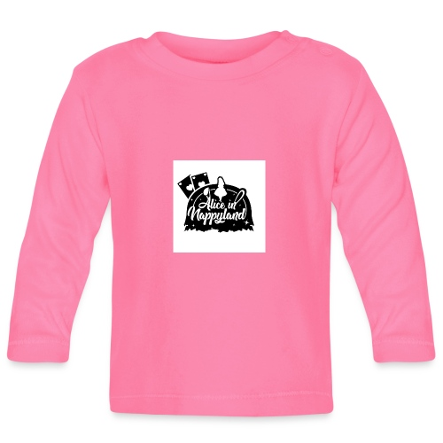 Alice in Nappyland TypographyWhite with background - Baby Long Sleeve T-Shirt