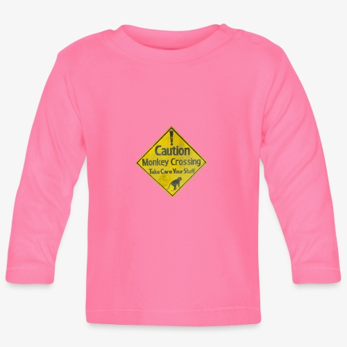 Caution Monkey Crossing - Baby Langarmshirt