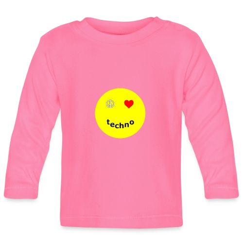 camiseta paz amor techno - Camiseta manga larga bebé