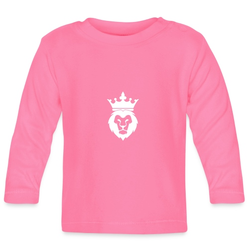 Lion_Logo_with_Crown_St--rre_bild_-white- - Långärmad T-shirt baby