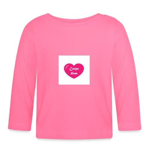Spread shirt hjärta carpe diem vit text - Långärmad T-shirt baby