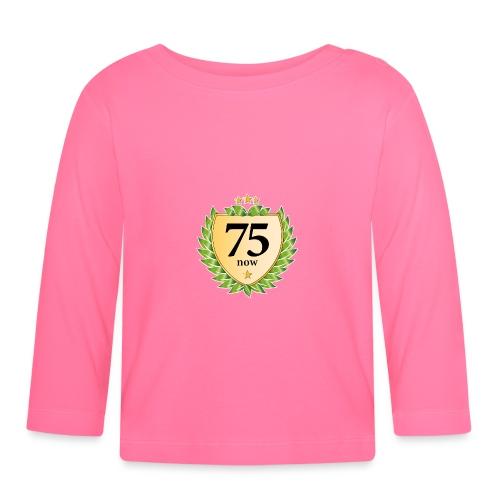 75. Geburtstag Wappen Lorbeerkranz goldene Sterne - Baby Long Sleeve T-Shirt