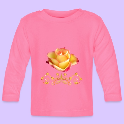 orange Rose, Ornament, Rosen, Blumen, Blüten, edel - Baby Langarmshirt