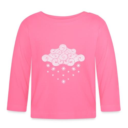 nuage blanc et flocons vacances d'hiver - T-shirt manches longues Bébé