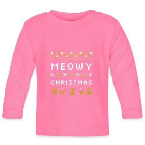 meowy christmas - Langarmet baby-T-skjorte