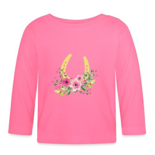 Blumen Hufeisen - Reitbekleidung - Baby Langarmshirt
