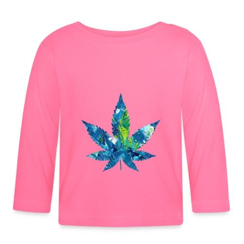 Artful cannabis leaf in acrylic paint - Baby Long Sleeve T-Shirt