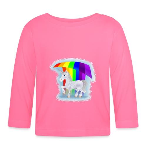 Cartoon Unicorn Under a Rainbow - Baby Long Sleeve T-Shirt