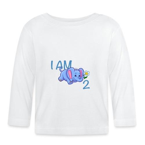 I am 2 - elephant blue - Baby Long Sleeve T-Shirt