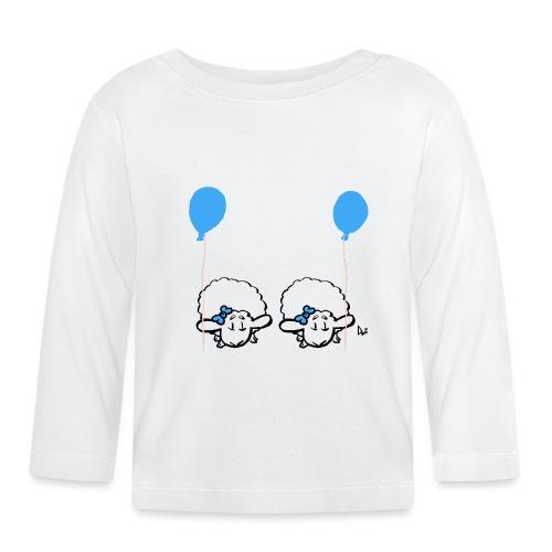 Baby lam tvillinger med ballon (blå og blå) - Langærmet babyshirt
