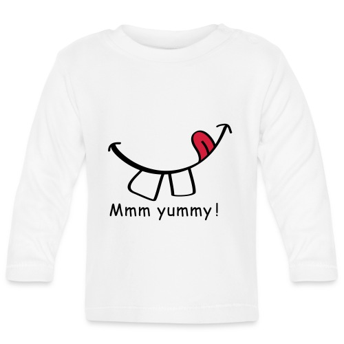 Slogan Mmm Yummy smile, heerlijk eten, lik mond. - T-shirt