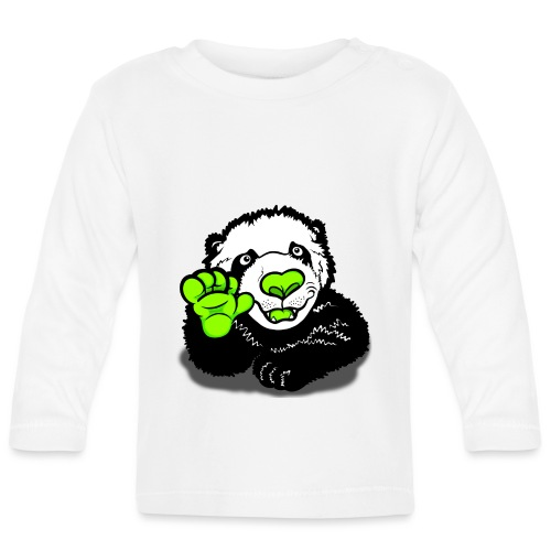 Waving Happy Panda Lime - Baby Long Sleeve T-Shirt